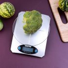Geepas Digital Kitchen Weighing Scales | Multifunction Weight Scale with High Accuracy Digital Display Top Panel | LCD Displays with Tare Function | Ultra Slim Design, 11lb/5kg, Silver - 2 Years Warranty