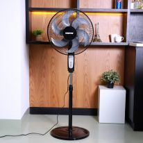 """Geepas 16"""" Stand Fan With Remote Control 60W - 3 Speed, 5 Leaf Blade, Adjustable Height & Tilt Setting With Led Display 