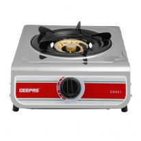 Geepas Single Burner Gas Hob/Stove 100mm - Attractive Design, Burner Stove Cooktop, Auto Ignition, Outdoor Grill, Camping Stoves| Stainless Steel Body