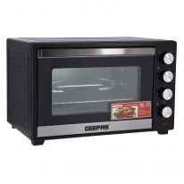 Geepas GO34047 45L Electric Kitchen Oven - Powerful 2000W with Crumb Tray, 60 Minutes Timer & Rotisserie & Convection Function | 6 Selectors for Baking & Grilling | 4 Accessories Included