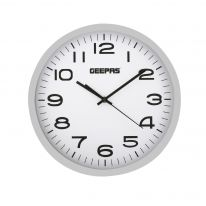 Geepas Wall Clock - Round Decorative Campagne/Silver colour Frame Clock for Living Room, Bedroom, Kitchen (Battery Not Included) Color Frame | 2 Years Warranty